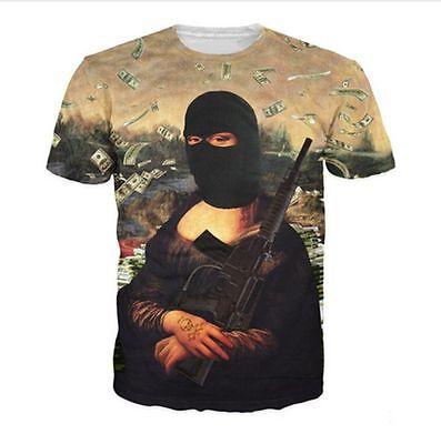 New Fashion Women//Men Gangster Mona Lisa 3D Print Casual T-shirt R-67