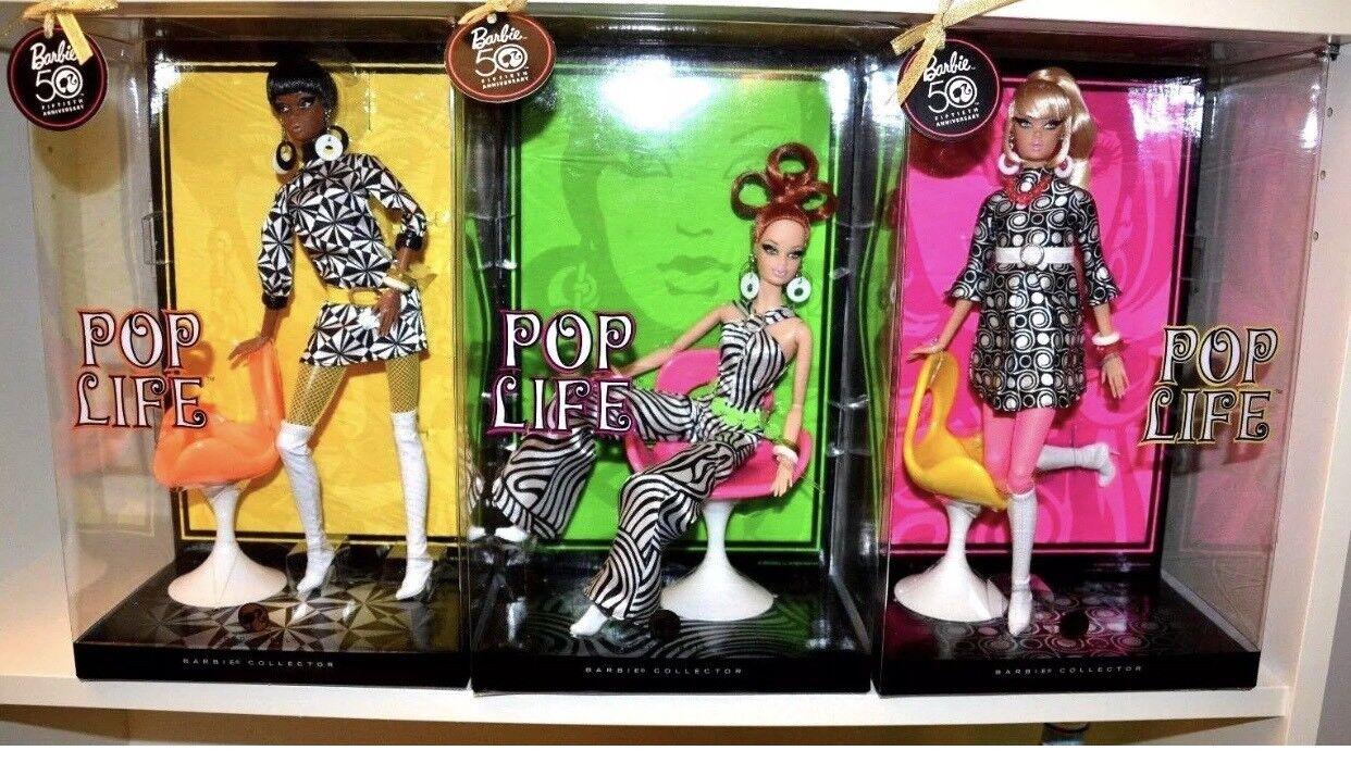 Lote de 4 todos los Pop vida Barbies