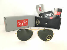 Band-New Ray Ban Aviator RB3026 L2846 62mm Green G-15 Lens and Gold Frame