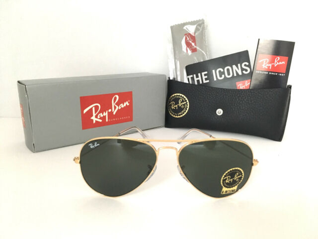 663471483e2 ... wholesale band new ray ban aviator rb3026 l2846 62mm green g 15 lens  and gold f5a66 ...