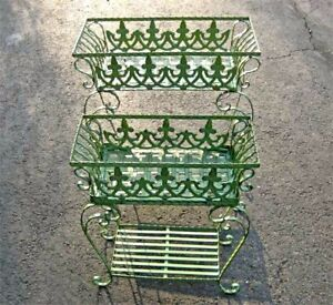 Set-of-2-Victorian-Plant-Stands-Wrought-Iron-Antiqued-Mint-Finish