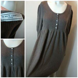 White-Company-Ladies-Pure-Merino-Wool-Brown-Button-Smock-Tunic-Lagenlook-Dress-L