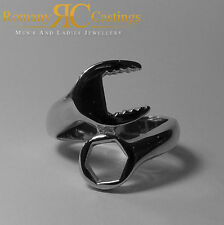 Men's 925 Solid Sterling Silver Highly Polished Spanner Ring 11 grams one size