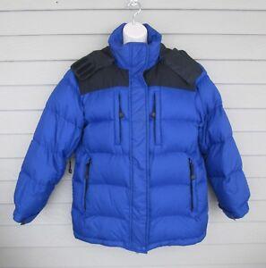 Lands End Womens Blue Amp Black Winter Goose Down Puffer Parka Jacket Coat M 10 12 Ebay