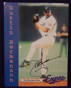 "AUTOGRAPHED  COLOR PHOTO>8.5"" X 11"" MLB BASEBALL>DUSTIN HERMANSON"