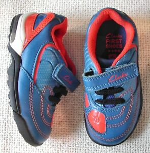 cedc2f78f2d7 Clarks boys Blue leather football style trainers red flashing lights ...