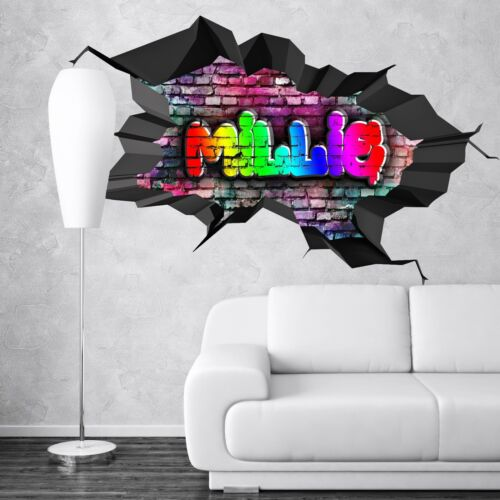 3D Graffiti Name Custom Personalized Vinyl Wall Sticker DIY Room Colorful