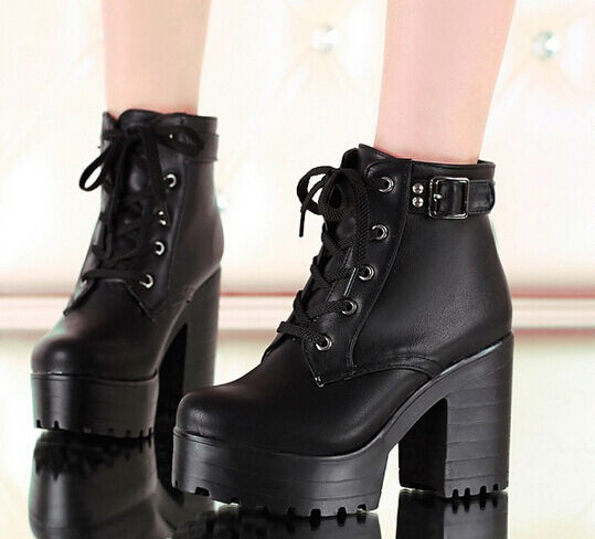 Womens Punk Chunky Heel Platform lace Up Buckle Strap Ankle Boot Shoes Plus Size