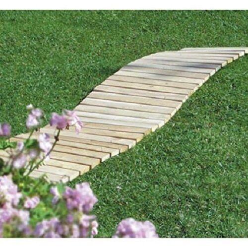 Wooden Garden Walkway Cedar 8 Foot Straight Pathway Lawn Portable Roll Up Decor