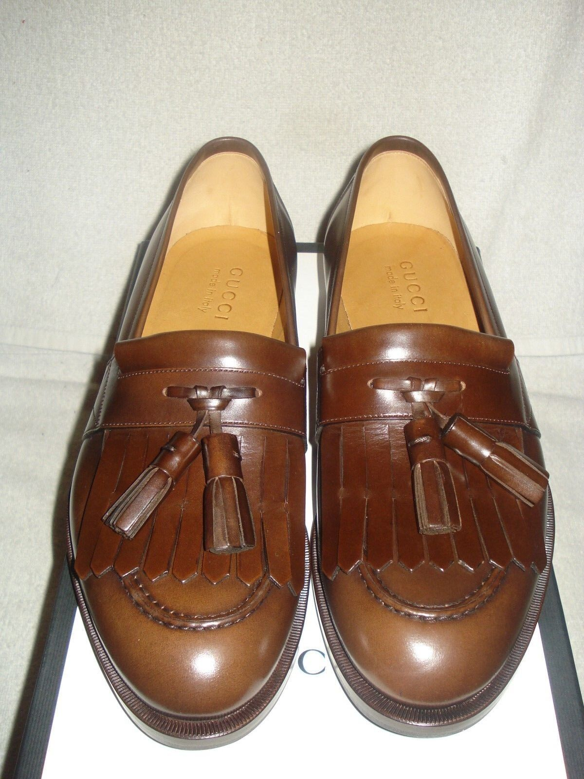 43e146540 100 Auth Men Gucci Queercore Brown Leather Tassel Drivers/loafers UK 8/us 9  for sale online | eBay