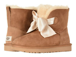 Details about Women UGG Gita Bow Mini Boot 1098360 Chestnut Twinface 100% Authentic Brand New
