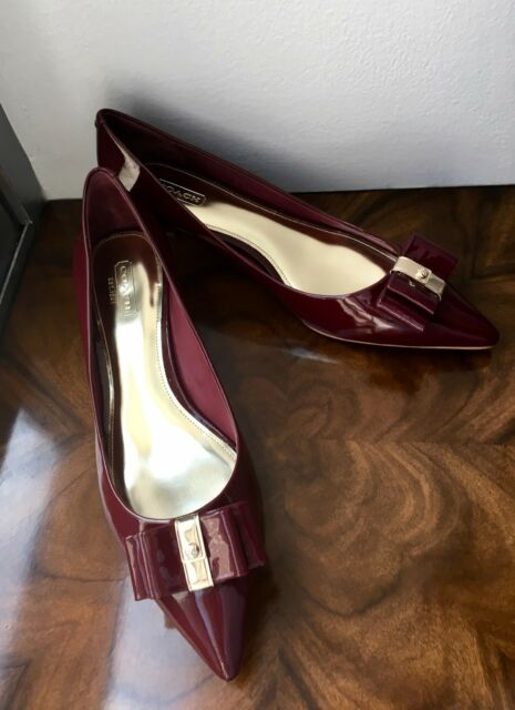NIB Coach Retail Burgundy Port Patent Leather MANDY Bow Kitten Heels Sz. 8   198