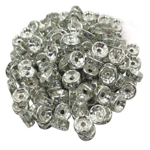 Crystal Rhinestone Spacer Beads Necklace Bracelet For Jewelry Making DIY Craft