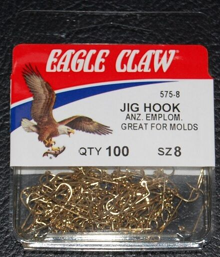 100 SIZE 6 EAGLE CLAW 570 Bronze Aberdeen Jig Hooks for DO IT Molds 90 degree