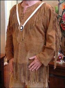 Mens Cowboy Native American Kiowa Indian Cognac Suede Leather Fringed Shirt New