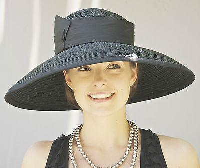 New Wide Brim Ladies Womens Kentucky Derby Black Hat Formal Church Dress Hat