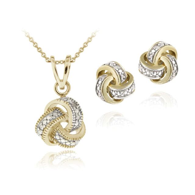 Gold Plated Diamond Accent Love Knot Necklace & Earrings Set