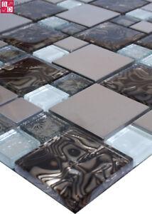 Glasmosaik mosaikfliesen mosaik glas edelstahl mosaike 15x15cm braun silber wei ebay - Mosaikfliesen silber ...
