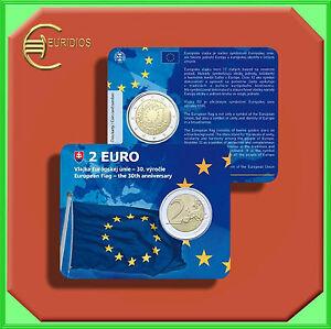 2-Euro-Gedenkmuenze-Coin-Coins-Slowakei-2015-034-EU-Flagge-034-Coin-Card