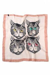 CAT-FACE-bright-eyes-40-SILK-70-cm-Square-SCARF-cream-with-blue-or-peach-trim