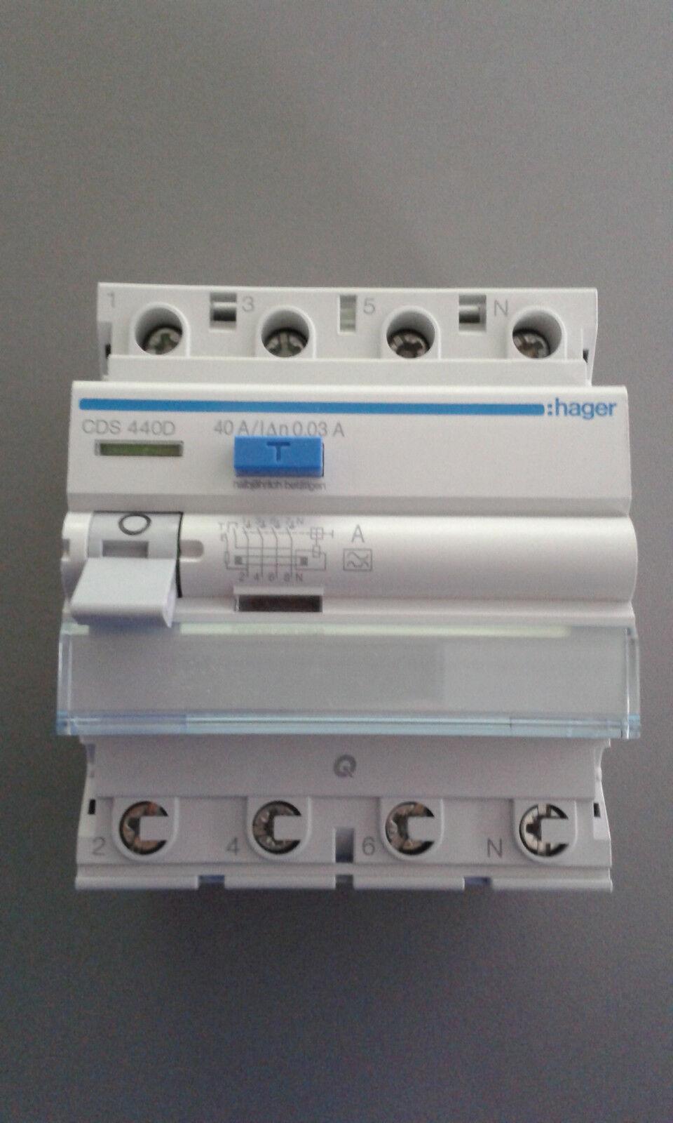 Hager FI-Schutzschalter CDS440D 4polig 40 0,03A    Ausgezeichnetes Preis