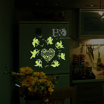 Wall Stickers Quotes Glow in The Dark Mural Cupid Removable Room DIY Decal Decor