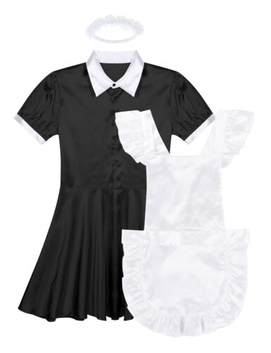 Mens Adult Sissy French Maid Satin Dress Uniform Cosplay Costume Party Nightwear