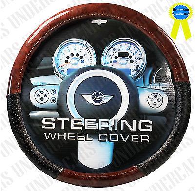 New Wood Grain Design Black Car Steering Wheel Cover
