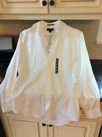 $39 Mens Lans End White Long Sleeve Shirt 15-33 C3