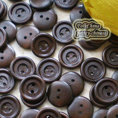 Dark Brown 2 Holes Wood Buttons Sewing Scrapbooking 15mm,20mm,25mm,28mm C037