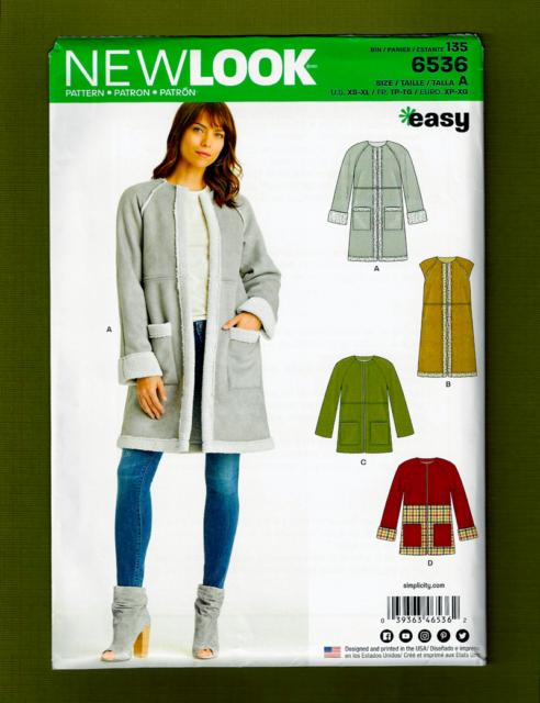Look 6536 Paper Sewing Pattern Misses 6 24 Easy Coat Jacket Vest For