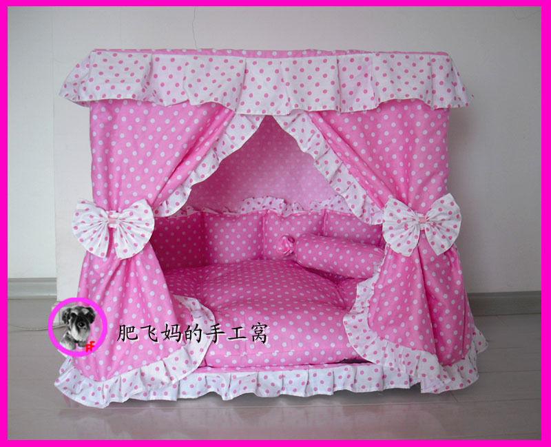 Charming Princess Pet Dog Cat Handmade Bed House rosa Dot Dimensione Medium