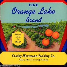 Citra Marion County Florida Orange Lake Orange Citrus Fruit Crate Label Print