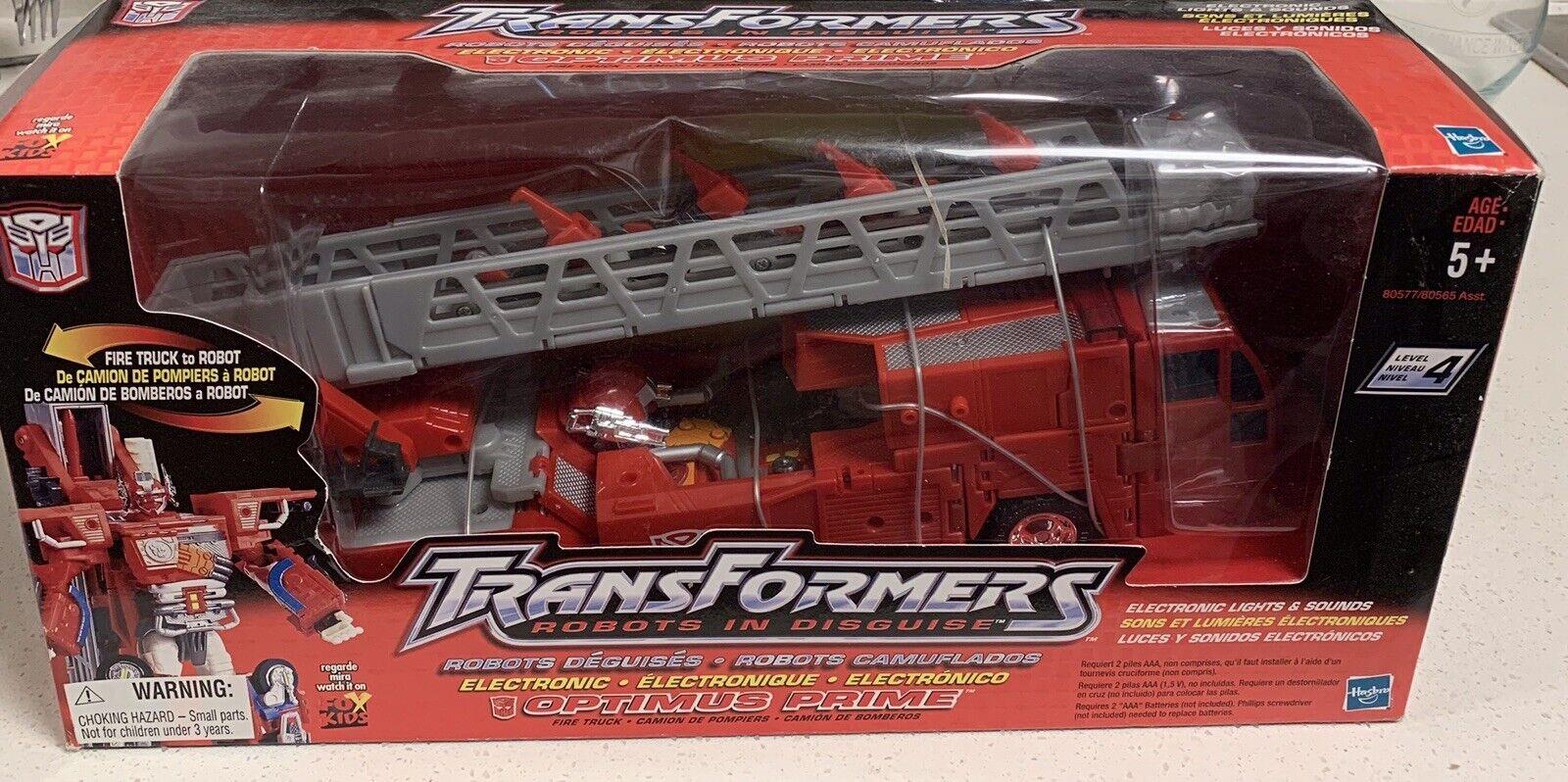 Eliminar Figura De Acción Transformers Optimus Prime camión de bomberos para robot 2001 Menta en Caja Sellada Nuevo