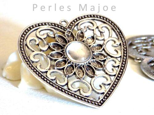 support pendentif coeur couleur argent antique avec cabochon en verre