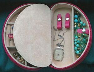 ROWALLAN Half Moon Leather Jewelry Box With Suede Lining eBay