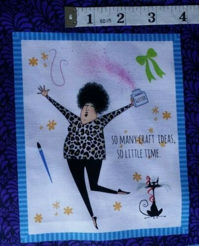"""100/% cotton Crazy for Crafting Fabric Panel 18/"""" x 44/"""" Cute Comic Pictures"""