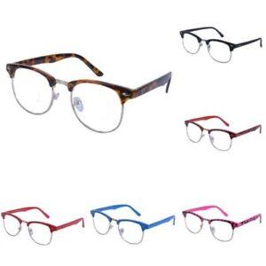 Vintage-Lente-Transparente-Cejas-Barra-Gafas-Gafas-de-Sol-Hron-Borde-Negro