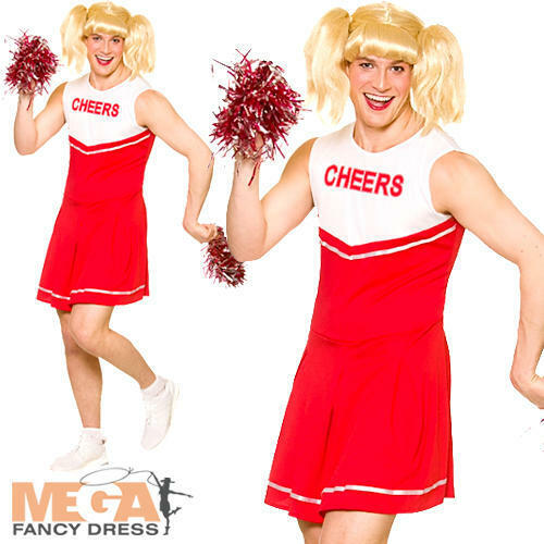Hot Cheerleader Mens Fancy Dress Novelty Funny Stag Drag Uniform Adults Costume