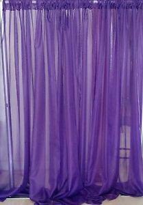"Purple wedding decoration drapes sheer 13 to 18 ft x 114"". backdrop."