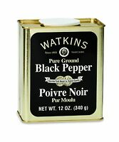 Watkins All Natural Gourmet Spice Tin Ground Black Pepper 12 Ou... Free Shipping