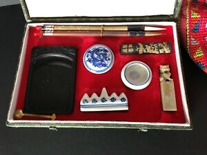 Asian Antiques Old Chinese Calligraphy Set In Presentation Box …beautiful Collection Item