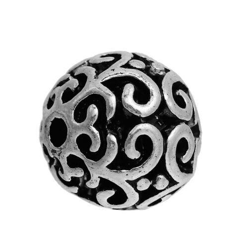 entre perla bala spacer patrón florales 10mm 2x #01.00374 Metal perla