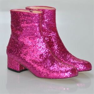 Womens-Glitter-Sequin-Round-Toe-Side-Zip-Low-Block-Heel-Party-Casual-Ankle-Boots