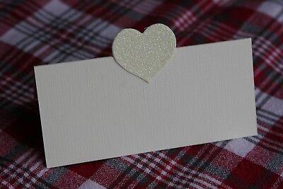 10 Avorio Nome Segnaposto Con Crema Carta Glitter Cuore, Matrimoni, Valentine-