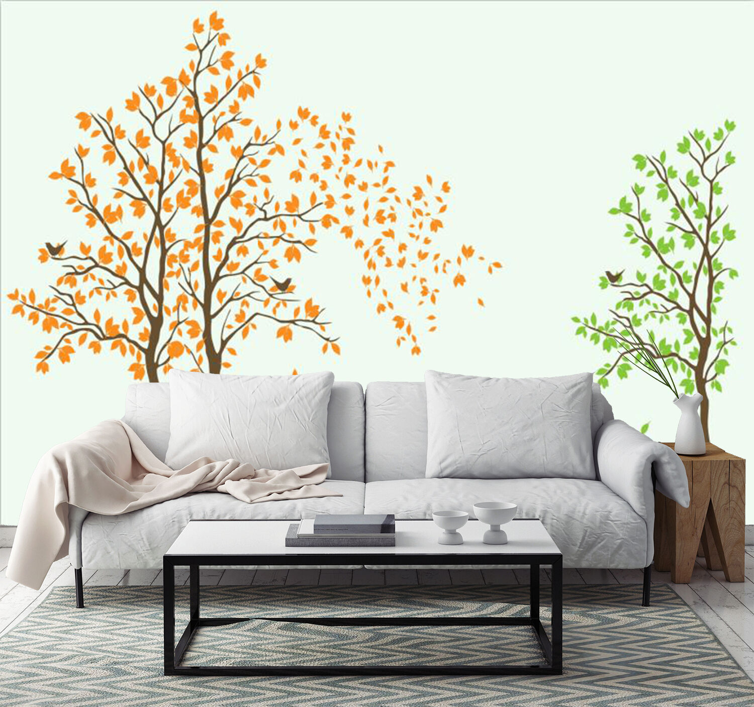 3D Farbeful Trees Pattern 1 Wall Paper Print Decal Wall Deco Indoor wall Mural