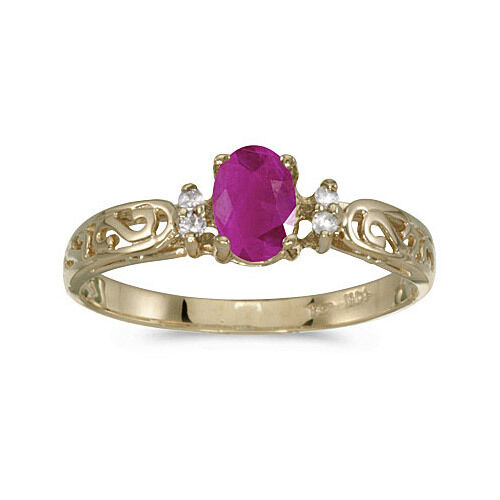 14k Yellow gold Oval Ruby And Diamond Filigree Ring (CM-RM2209X-07)
