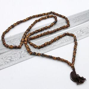 Kali-Mala-Gebetskette-120-cm-Umfang-Totenkopf-Kette-OM-Yakbone-Indien-Dunkel