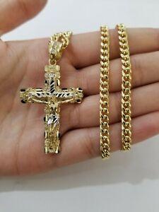 Colgante cadena de enlace de oro amarillo 10k conjunto real 10K 5mm encanto collar cubano de Miami