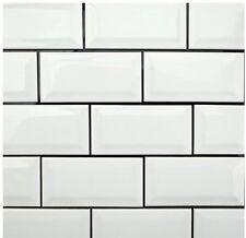"GLOSSY White Beveled Subway Backsplash Tile Ceramic 3""X6"" KITCHEN BATHROOM 80PCS"